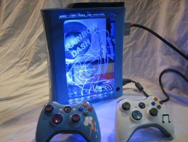 Rainbow Dash Custom Xbox 360 - With Controllers by Nightowl3090