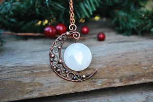 Crescent Moon necklace by twistedjewelry