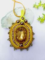 Soutache pendant  brown yellow  and gold by Mirtus63