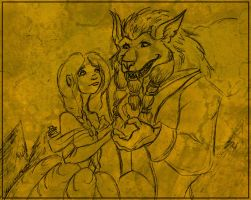 Beauty and the beast...? Commission Bonus/Warm up. by nighte-studios