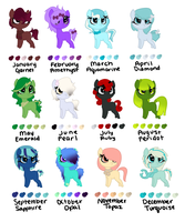Birthstone Pony Adopt 2 (closed) by perfectnesspony