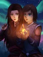 Korra And Asami by gin-1994