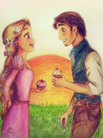 Tangled Rapunzel and Flynn by yaelim