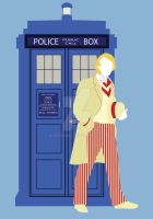 Five and the TARDIS by HaddonArt
