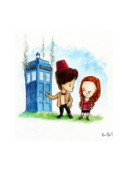 Doctor Who and Amy Pond by benbyrdart