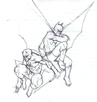 Batman + Daredevil Sketch by SLO-MO