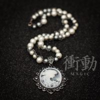 Pearls and Chain Cameo Necklace by shoudoumagic