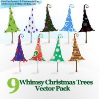 Whimsy Christmas Trees Vectors by littleboxofideas