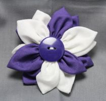 Purple and White Fabric Flower Hair Barrette by jenlucreations