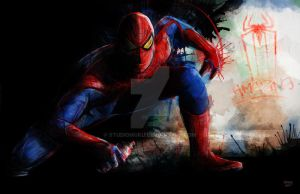 Spidey Ain't Tidy Amazing Spiderman 2012 Painting by studiomuku