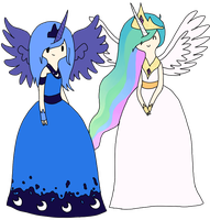 Princess Luna and Princess Celestia by skatergirl8888