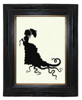 Victorian Lady Silhouette Octopus Tentacles Kraken by curiousprintery