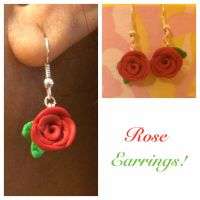 Polymer Clay Red Rose Earrings by chikki587