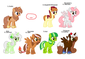 [OPEN][4 LEFT ]  Pony Food adopts pack by SweetieBelle24