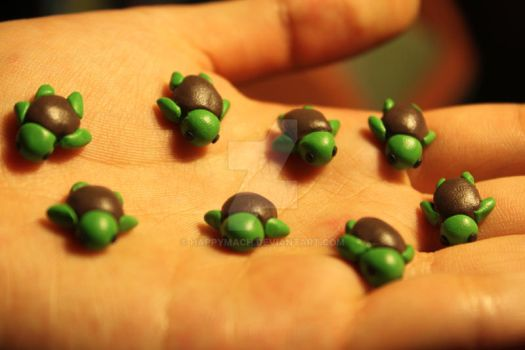 Polymer Clay Turtles (for sale) by HappyMach