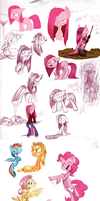 pinkpink pony sketchdump by kiki-kit