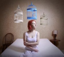 Floating Decision, Caged Series by Seraphina-Song