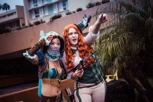 Steampunk Princess Jasmine and Princess Merida by cindyrellacosplay