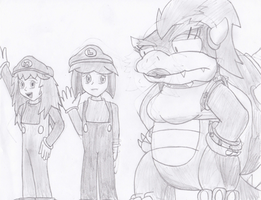 Maria, Lucy, and... Queen Koopa... by Karasu-96
