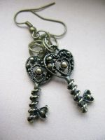 Bronze Heart Key Earring by crystaland
