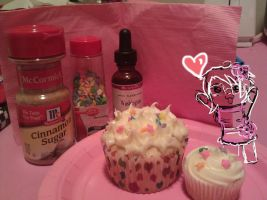 Cupcakes: Cinna-Suga and Cherry Frosting by Bake-a-saur