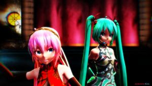[MMD] World's End Dance Hall (Miku and Luka) by CrazyImmor