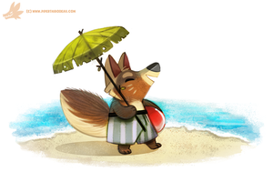 Daily Paint #974. Arctic Fox - Summer Coat (OG) by Cryptid-Creations
