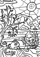Free Colouring Page SAVANNA by Ithlini