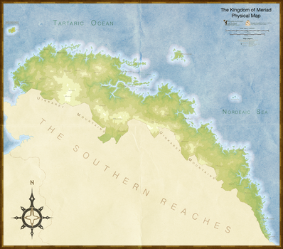 Fantasy-zation of Meriad Topographical Map by AlabasterRaven
