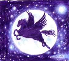 Pegasus pen drawing by CORinAZONe