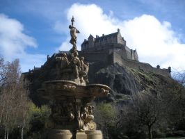 Edinburgh Castle and Fountain by rlkitterman