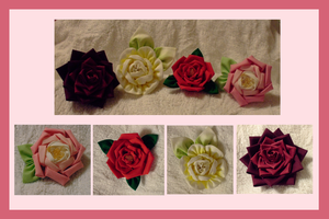 Kanzashi roses by EruwaedhielElleth