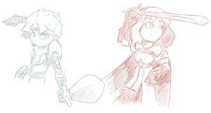 [Sketch] Fire Emblem- Alm and Celica by GamefreakDX
