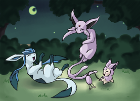Glaceon, Espeon and Skitty by Kansaibou