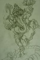 Ganesh tattoo sketch by chrisxart