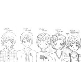 One Direction --Uncolored-- by deaththechick101