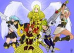 Lol Wallpaper, ft. Ashe, Kayle, Leona, Lux, Riven by The-Piojolopez