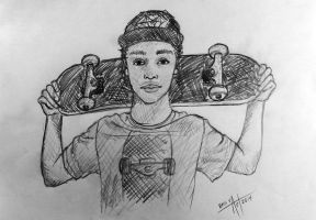 Nyjah Huston Quick Portrait Drawing by AtokLanzeros