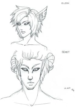 First Sketches: Eloin and Beret/Belial by Xenophiel