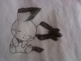 Sleeping Notched Ear Pichu by thegamemaster27