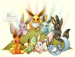 A Gaggle Of Eeveelution Destiny by helloheath