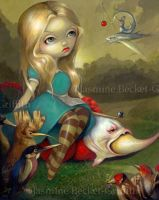 Alice and the Bosch Birds by jasminetoad