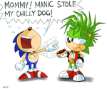 Manic stole sonic chillydog by Domestic-hedgehog