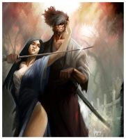 Samurai and Geisha by hifarry