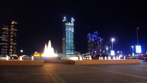 Abu Dhabi Corniche at night by amirajuli