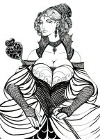 Queen of Hearts lineart by omegasama