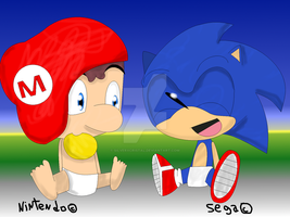 Mario and Sonic... Babys by silverxcristal