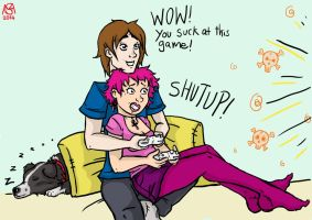 Gamer Couple by Inky-Doodle