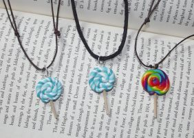 Lollipop necklaces by MeticulousBlue