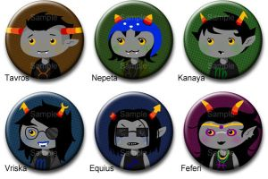 Homestuck Troll Button Set 2 by roseannepage
